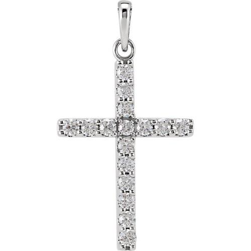 14kt White Gold 1/2 CTW Diamond Cross Pendant 1.42 Grams
