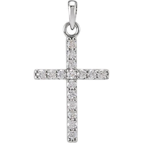 14kt White Gold 1/4 CTW Diamond Cross Pendant 0.7 Grams