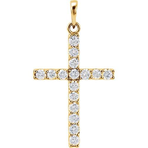 14kt Yellow Gold 1 CTW Diamond Cross Pendant 2.47 Grams