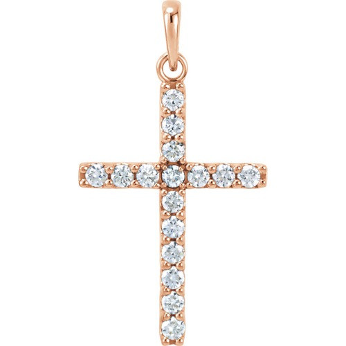 14kt Rose Gold 1/2 CTW Diamond Cross Pendant 1.46 Grams