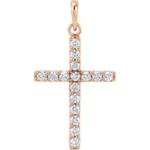 14kt Rose Gold 1/2 CTW Diamond Cross Pendant 1.46 Grams