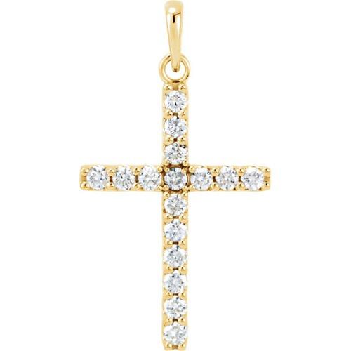 14kt Yellow Gold  .50 CTW Diamond Cross Pendant
