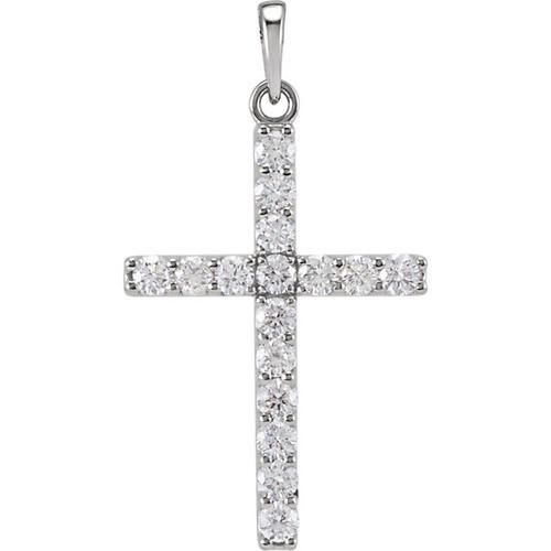 14kt White Gold 3/4 CTW Diamond Cross Pendant 1.7/8 Grams