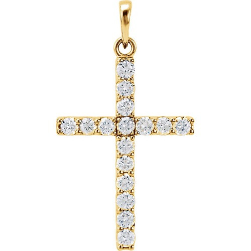 14kt Yellow Gold 3/4 CTW Diamond Cross Pendant 1.83 Grams