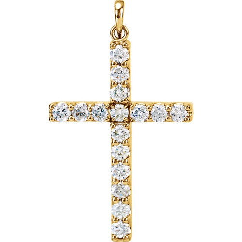 14kt Yellow Gold  1 1/5 CTW Diamond Cross Pendant
