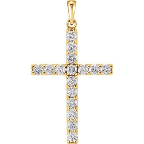 14Kt Yellow Gold Diamond Cross Pendant, 1 1/4 CTW