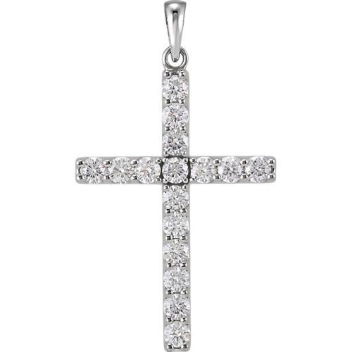 14kt White Gold 1 1/4 CTW Diamond Cross Pendant 3.41 Grams