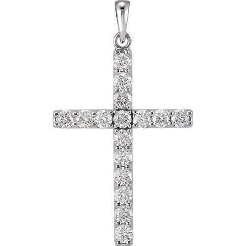 14kt White Gold 1 1/4 CTW Diamond Cross Pendant 3.41 Grams