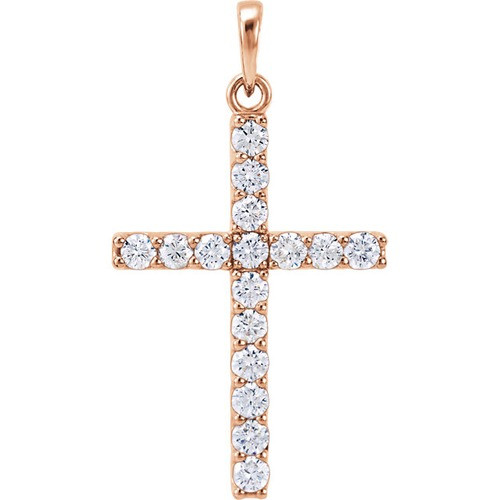 14kt Rose Gold 3/4 CTW Diamond Cross Pendant 1.84 Grams