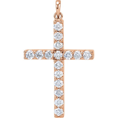 14kt Rose Gold 1 1/2 CTW Diamond Cross Pendant 4.31 Grams