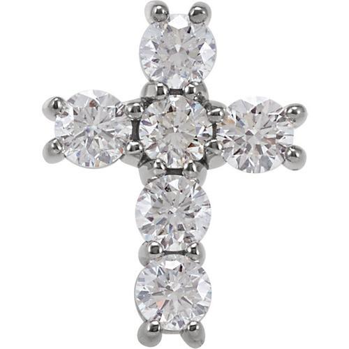 14kt White Gold 3/4 CTW Diamond Cross Pendant 0.86 Grams