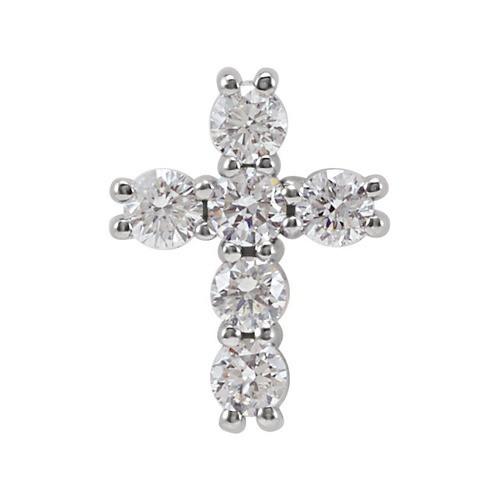 14kt White Gold 1/4 CTW Diamond Cross Pendant 0.34 Grams