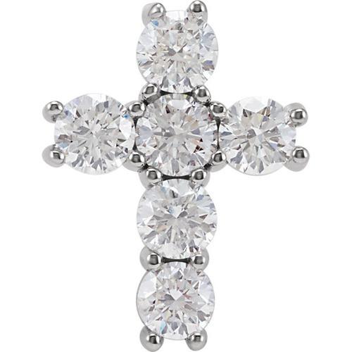 14kt White Gold 1 1/2 CTW Diamond Cross Pendant 1.39 Grams