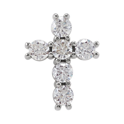 14kt White Gold 1/3 CTW Diamond Cross Pendant 0.37 Grams
