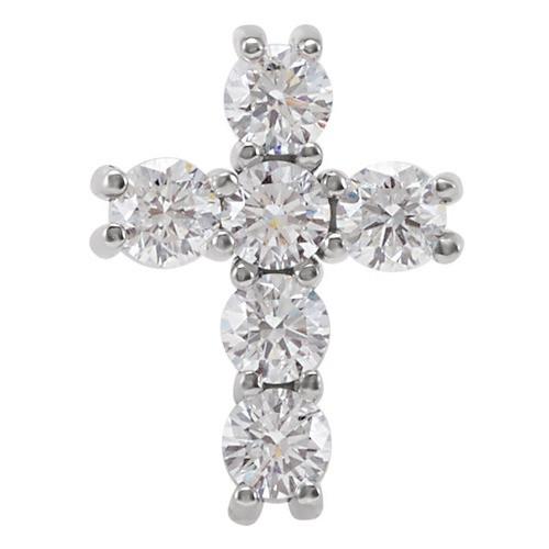 14kt White Gold 1/2 CTW Diamond Cross Pendant 0.58 Grams