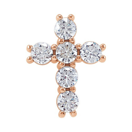 14kt Rose Gold 1/3 CTW Diamond Cross Pendant 0.38 Grams