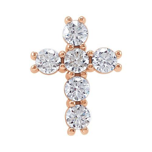 14kt Rose Gold 1/3 CTW Diamond Cross Pendant 0.38 Grams