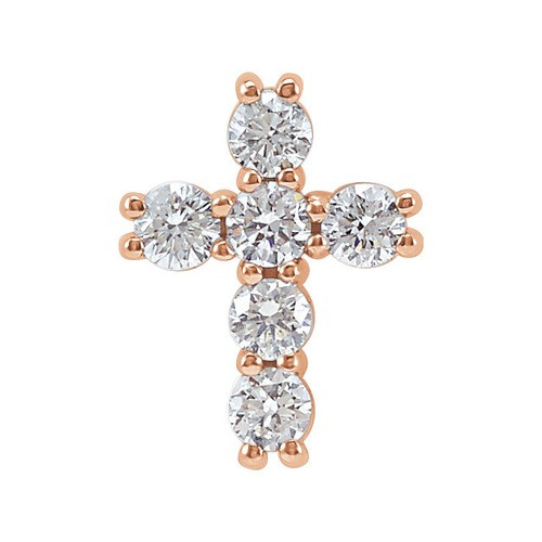14kt Rose Gold 1/4 CTW Diamond Cross Pendant 0.35 Grams