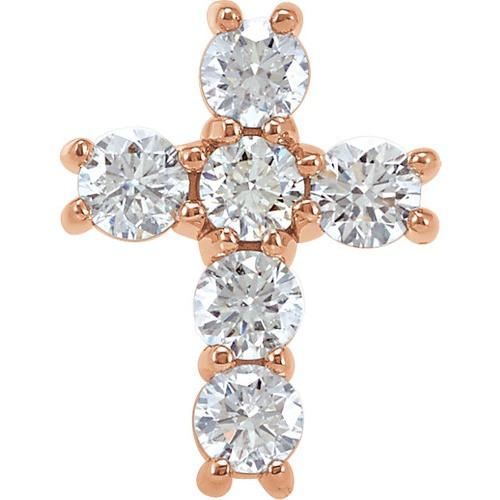 14kt Rose Gold 3/4 CTW Diamond Cross Pendant 0.88 Grams