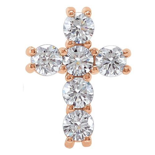14kt Rose Gold 1/2 CTW Diamond Cross Pendant 0.6 Grams
