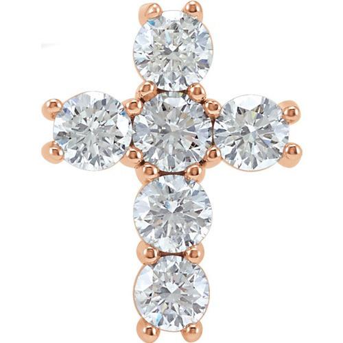 14kt Rose Gold 1 1/2 CTW Diamond Cross Pendant 1.43 Grams