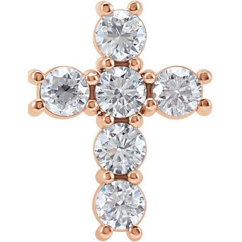 14kt Rose Gold 1 1/4 CTW Diamond Cross Pendant 1.29 Grams