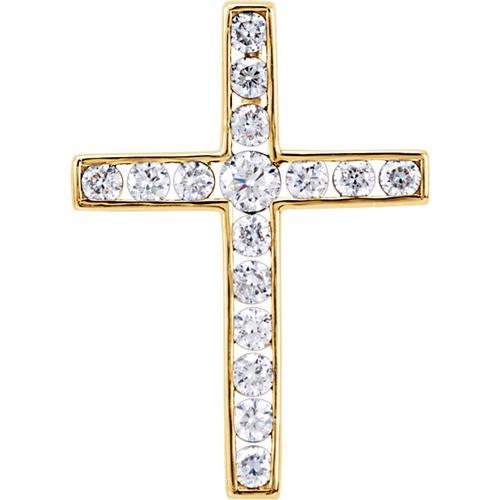 14kt Yellow Gold  1 1/2 CTW Diamond Cross Pendant