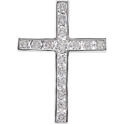 14kt White Gold 1/4 CTW Diamond Cross Pendant 0.86 Grams