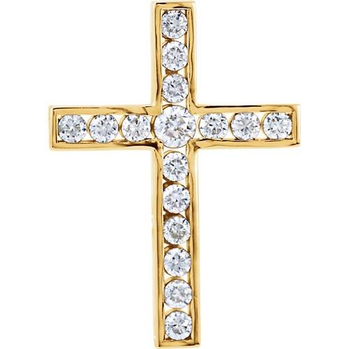 14kt Yellow Gold 3/4 CTW Diamond Cross Pendant 2.48 Grams