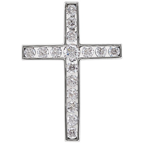 14kt White Gold 1/3 CTW Diamond Cross Pendant 1.2 Grams
