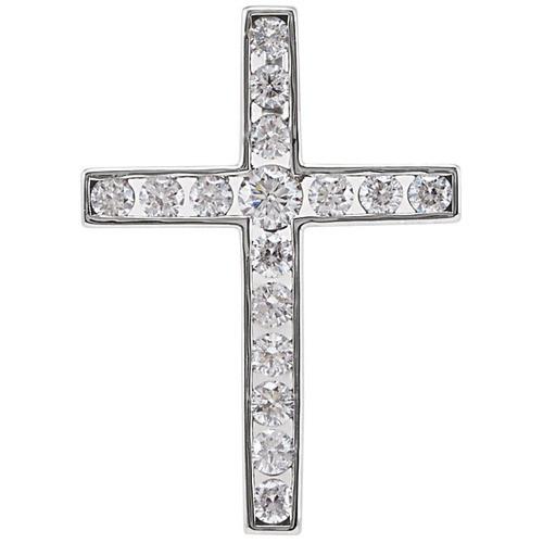 14kt White Gold 1/3 CTW Diamond Cross Pendant 1.2 Grams