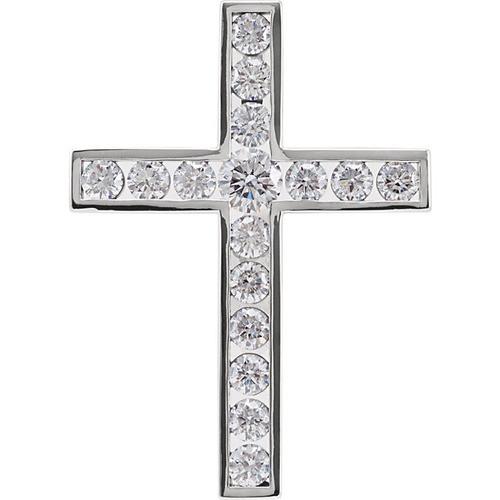 14kt White Gold 1 1/2 CTW Diamond Cross Pendant 4.81 Grams