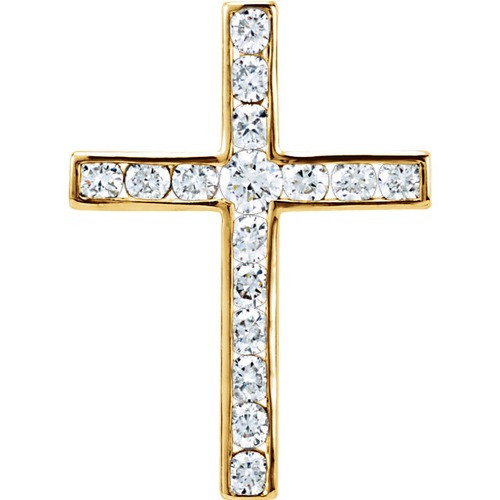 14kt Yellow Gold 1/4 CTW Diamond Cross Pendant 0.89 Grams
