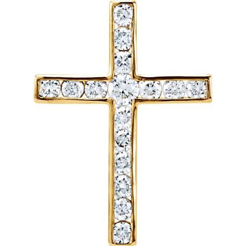 14kt Yellow Gold 1/4 CTW Diamond Cross Pendant 0.89 Grams