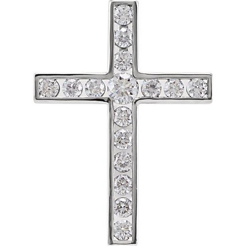 14kt White Gold 3/4 CTW Diamond Cross Pendant 2.41 Grams