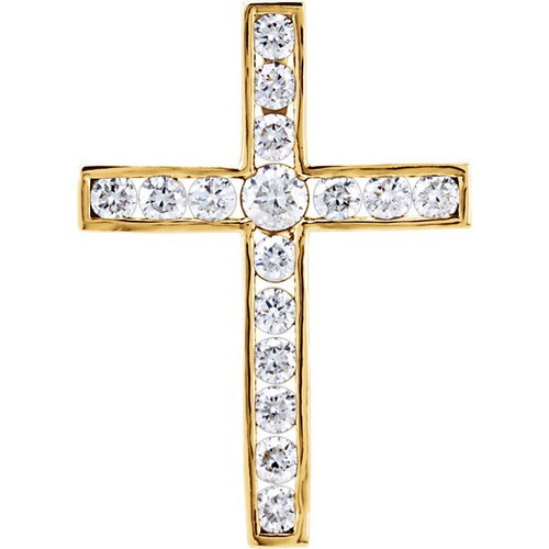 14kt Yellow Gold 1 CTW Diamond Cross Pendant 3.48 Grams