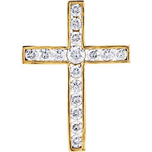 14kt Yellow Gold 1 CTW Diamond Cross Pendant 3.48 Grams