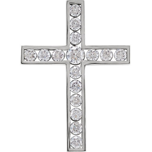14kt White Gold 1 CTW Diamond Cross Pendant 3.39 Grams