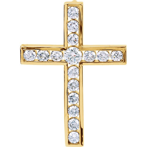 14kt Yellow Gold 1 1/4 CTW Diamond Cross Pendant