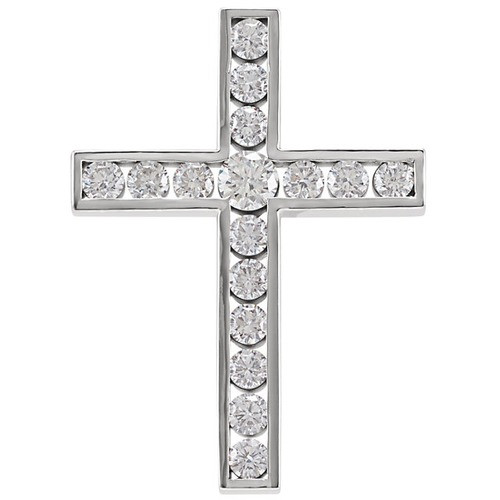 14kt White Gold 1 1/4 CTW Diamond Cross Pendant 4.17 Grams