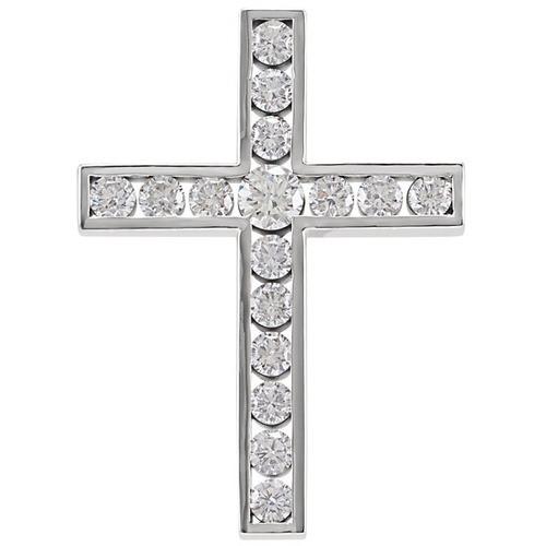 14kt White Gold 1 1/4 CTW Diamond Cross Pendant 4.17 Grams