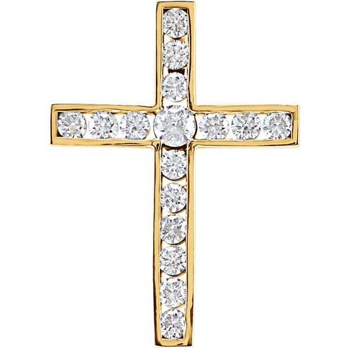 14kt Yellow Gold 1/2 CTW Diamond Cross Pendant 1.63 Grams