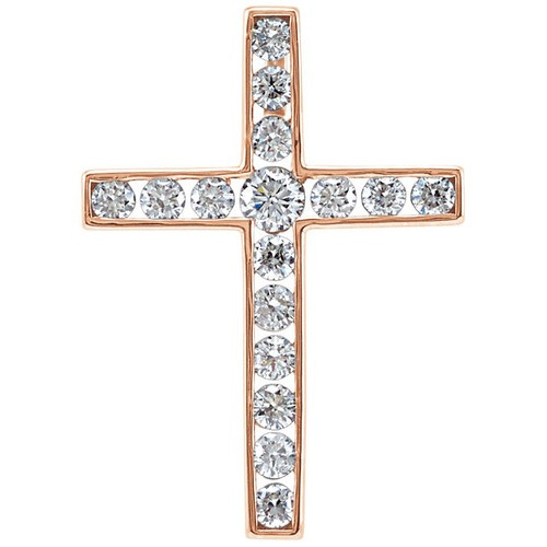 14kt Rose Gold 1/3 CTW Diamond Cross Pendant 1.23 Grams