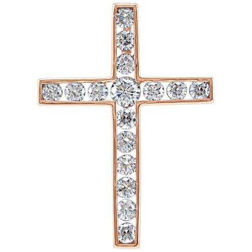 14kt Rose Gold 1/3 CTW Diamond Cross Pendant 1.23 Grams