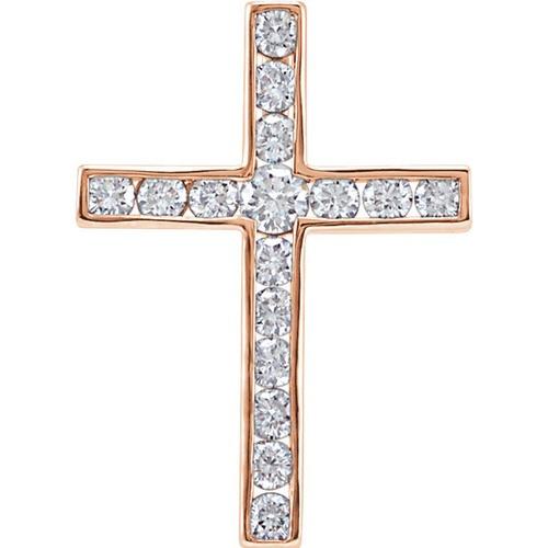 14kt Rose Gold 1/4 CTW Diamond Cross Pendant 0.89 Grams