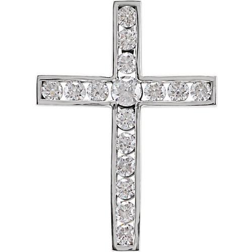 14kt White Gold 1/2 CTW Diamond Cross Pendant 1.59 Grams