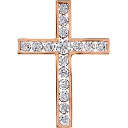 14kt Rose Gold 1 CTW Diamond Cross Pendant 3.48 Grams