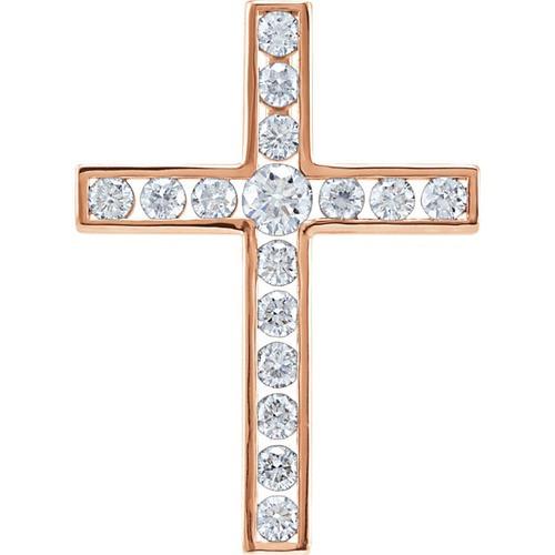 14kt Rose Gold 3/4 CTW Diamond Cross Pendant 2.47 Grams