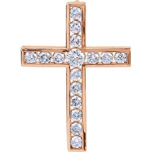 14kt Rose Gold 1 1/4 CTW Diamond Cross Pendant 4.28 Grams