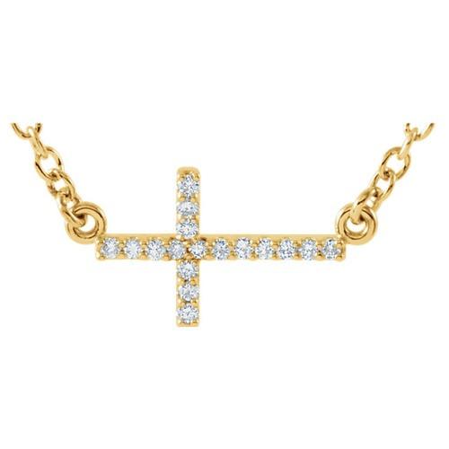 "14kt Yellow Gold  .08 CTW Diamond Sideways Cross 16-18"" Necklace"